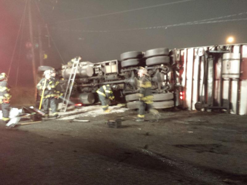 Overturned Tractor Trailer in the 3-72 Box